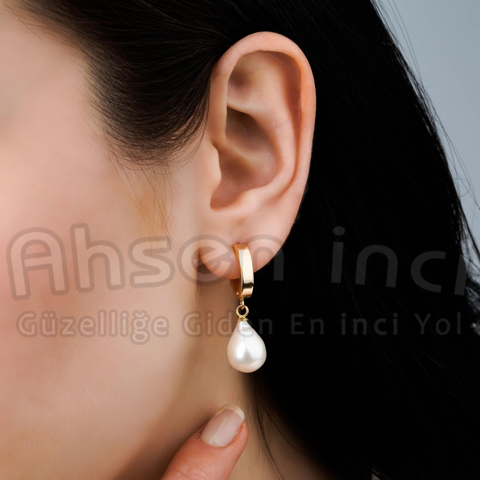 Ahsen 14K Altın Doğal Damla Beyaz İnci Küpe-AH-0169
