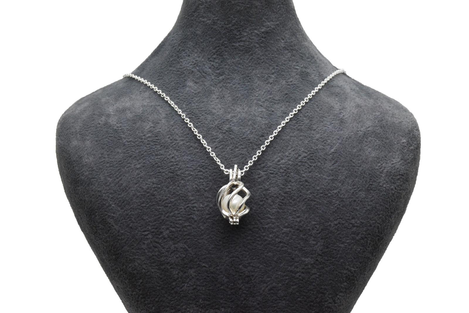 - Ahsen 925 Ayar Gümüş Kafes Doğal İnci Kolye Ucu AH-0178