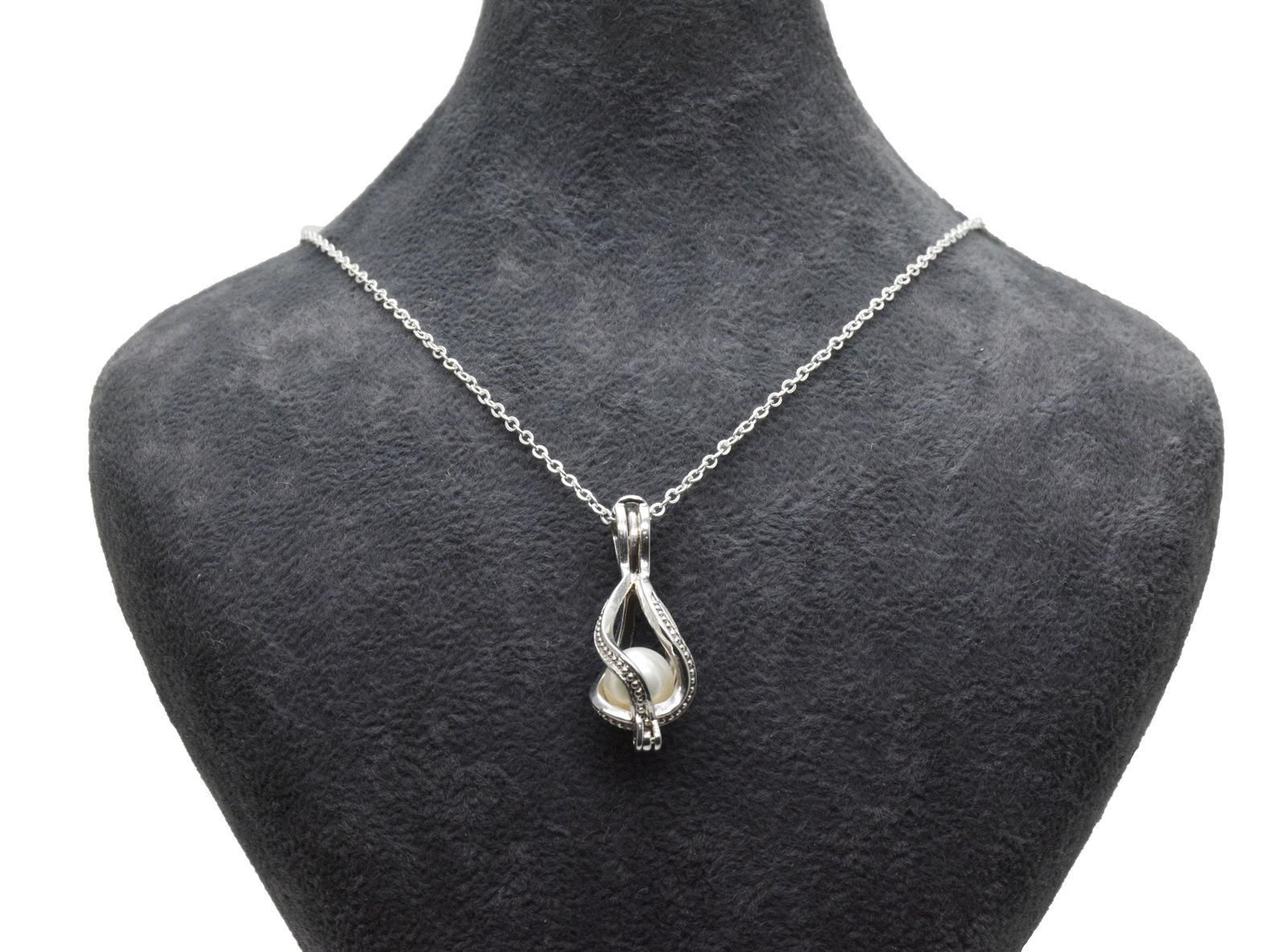 - Ahsen 925 Ayar Gümüş Kafes Doğal İnci Kolye Ucu AH-0179