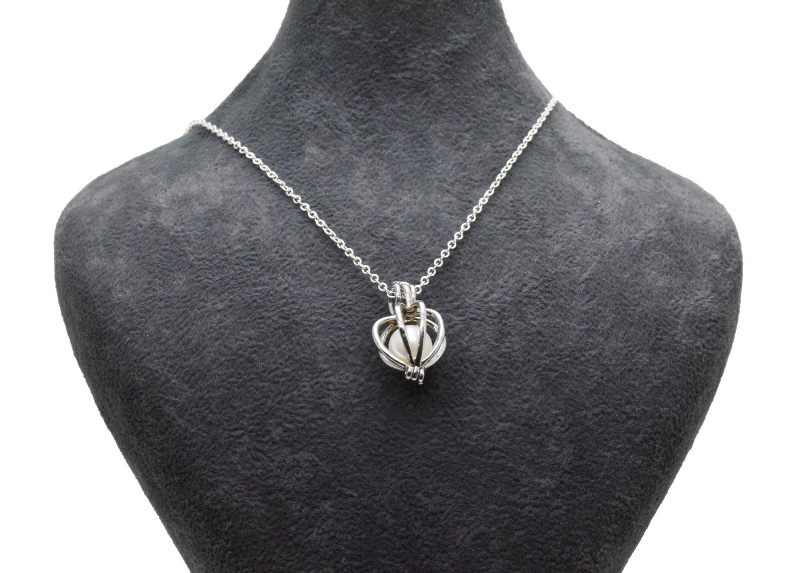 - Ahsen 925 Ayar Gümüş Kafes Doğal İnci Kolye Ucu AH-0180
