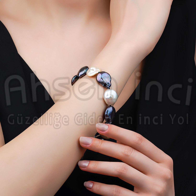 - Ahsen 925 Ayar Gümüş Kilitli Gerçek İnci - Sedef Bileklik AH-0171