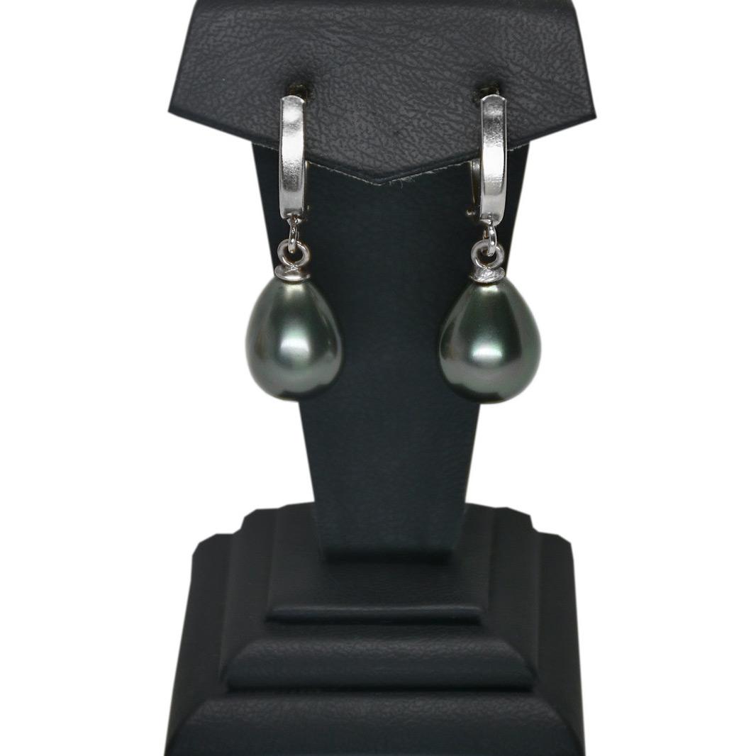 - Ahsen 925 Ayar Gümüş Siyah Mayorka Küpe AH-0162