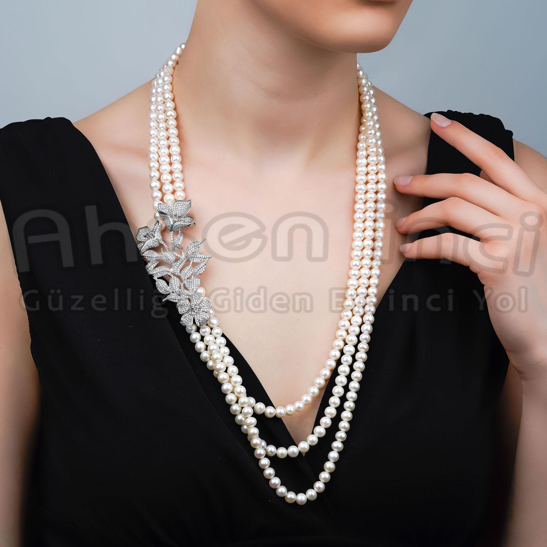 - Ahsen 925K Gümüş Broşlu 4 Sıralı Doğal Beyaz inci Kolye AH-00089
