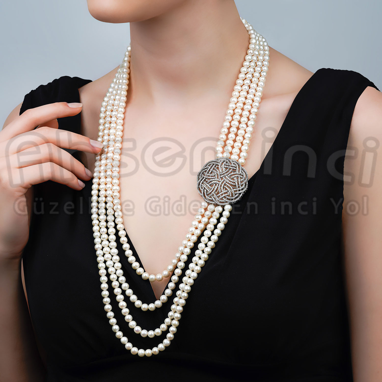 Ahsen 925K Gümüş Broşlu 4 Sıralı Doğal Beyaz inci Kolye AH-00100 - Thumbnail