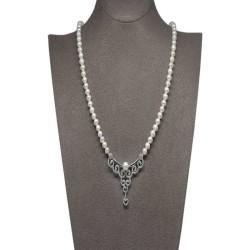 - Ahsen 925K Gümüş Klipsli Doğal Beyaz inci Kolye AH-00099
