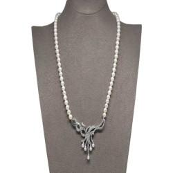 - Ahsen 925K Gümüş Klipsli Doğal Beyaz inci Kolye AH-00101