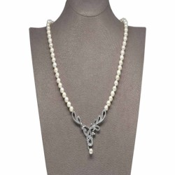 - Ahsen 925K Gümüş Klipsli Doğal Beyaz inci Kolye AH-00102