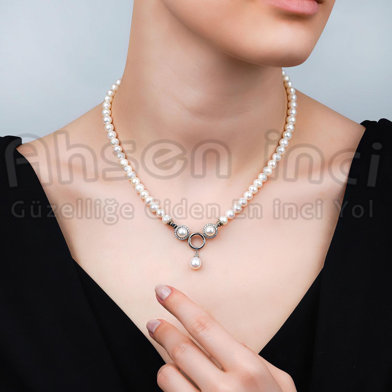 - Ahsen 925K Gümüş Klipsli Doğal Beyaz inci Kolye AH-00103